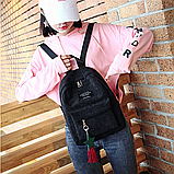Женский черный вельветовый рюкзак с брелком код 3-424, фото 4