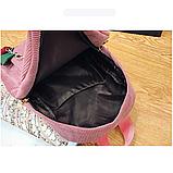 Женский черный вельветовый рюкзак с брелком код 3-424, фото 5