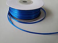 Лента атлас 3 мм синяя метр