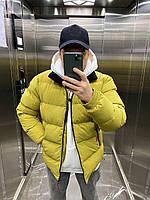 Пуховик чоловічий укорочений жовтого кольору