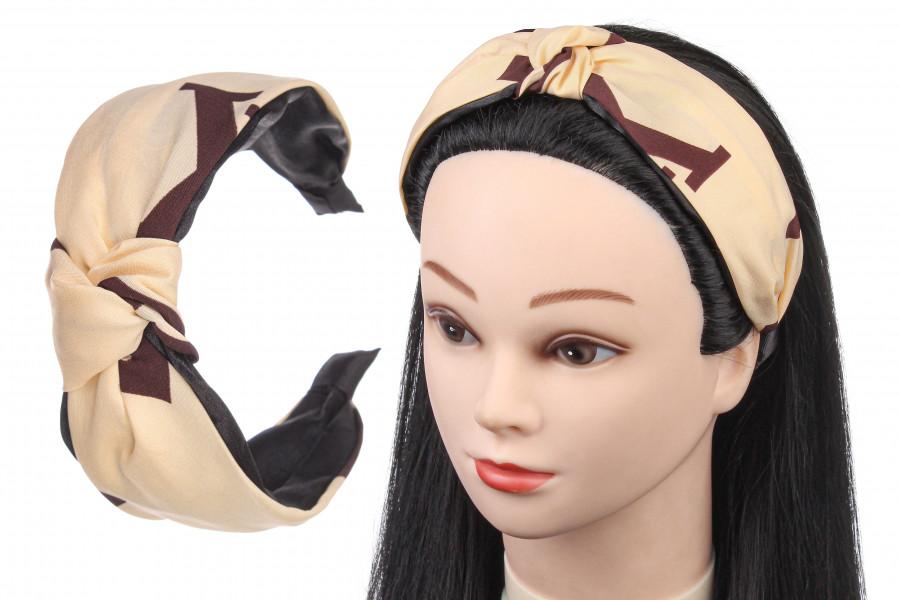 Модний шырокий обруч бежевий ободок на голову жіночий обруч - чалма для волосся відомого бренду