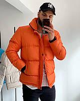 Пуховик чоловічий укорочений оранжевого кольору