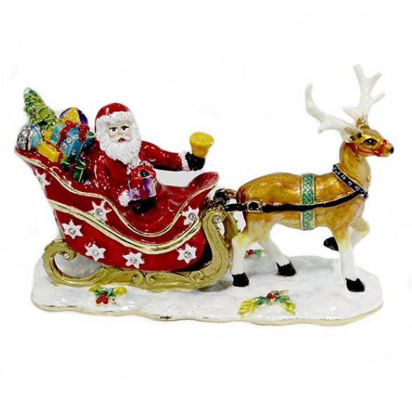 Металлическая шкатулка новогодняя Дед Мороз на санях с оленем