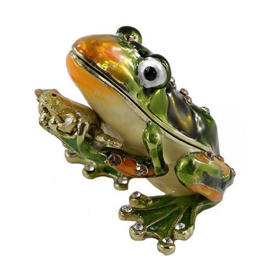 Оригинальная шкатулка украшена стразами Лягушка