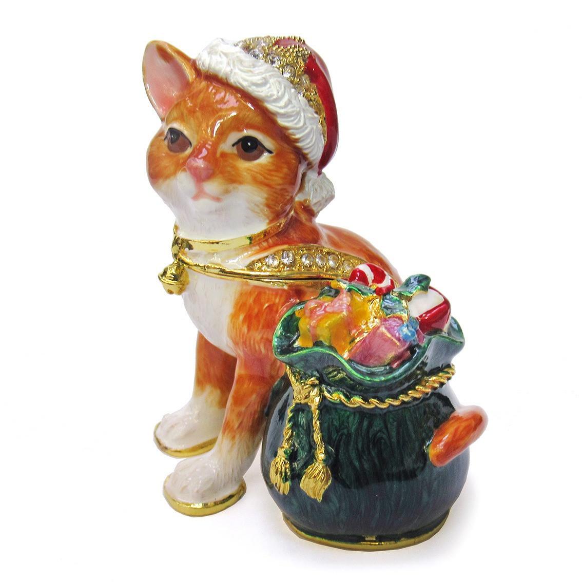 Шкатулка фигурка металлическая на магните Кот с мешком подарков