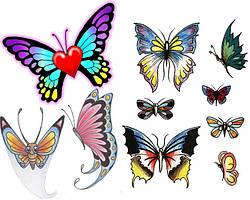 Вафельная и сахарная картинка Бабочки