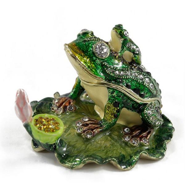 Оригинальная шкатулка статуэтка из металла Лягушка с лягушонком