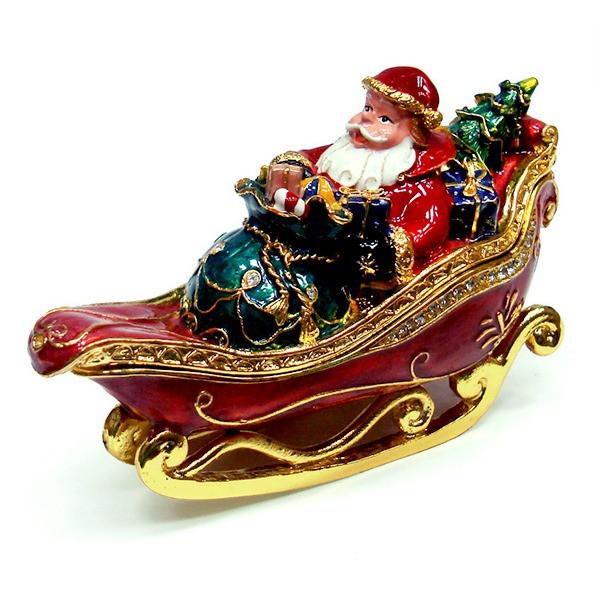 Металлическая шкатулка со стразами Дед Мороз на санях