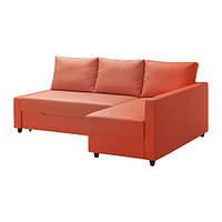 FRIHETEN Диван-кровать угловой, Шифтебу оранжевый