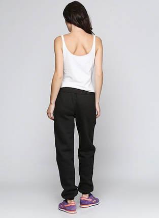 Штани жіночі на флісі спортивні, чорні, фото 2