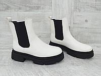 Белые демисезонные женские ботинки сбоку на резинке, р. 36-41