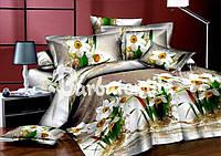 Полуторное постельное белье с нарциссами из ранфорса