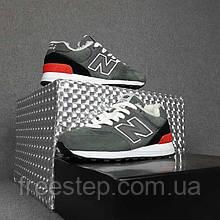 Жіночі зимові кросівки в стилі New Balance 574 сірі з червоним