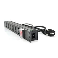 """Удлинитель Ritar 6 розеток C13 с выключателем, 220В, немецкий тип, 1U 19 """", с адаптером питания C13,"""