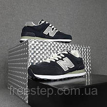 Жіночі зимові кросівки в стилі New Balance 574 сині сірий задник