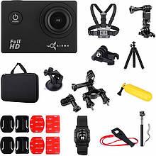 Экшн-камера AirOn Simple Full HD Black с аксессуарами 30в1 (69477915500061)