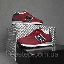 Жіночі зимові кросівки в стилі New Balance 574 бордові