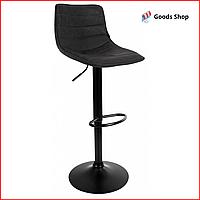Барный стул высокий для барной стойки Кожаное барное кресло стильное со спинкой Bonro B-081 черный