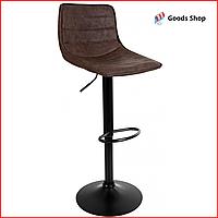 Барный стул высокий для барной стойки Кожаное барное кресло стильное со спинкой Bonro B-081 коричневый