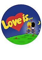 """Вафельная  и сахарная картинка """"Любовь"""" в ассортименте"""