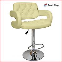 Барный стул высокий для барной стойки Кожаное барное кресло со спинкой с подлокотниками Bonro B-823A бежевый