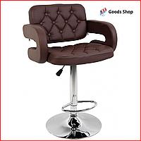 Барный стул высокий для барной стойки Кожаное барное кресло со спинкой с подлокотниками Bonro B823A коричневый