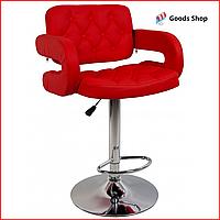 Барный стул высокий для барной стойки Кожаное барное кресло со спинкой с подлокотниками Bonro B-823A красный