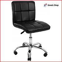 Барный стул высокий для барной стойки Кожаное барное кресло на колесиках со спинкой для кухни Bonro 532 черный