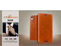 Кожаный чехол книжка MOFI для HTC Desire 626G dual sim коричневый