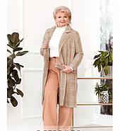/ Розмір 50-52,58-60 / Жіноче пальто великого розміру з поясом / 796-Бежевий, фото 3