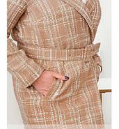 / Розмір 50-52,58-60 / Жіноче пальто великого розміру з поясом / 796-Бежевий, фото 2