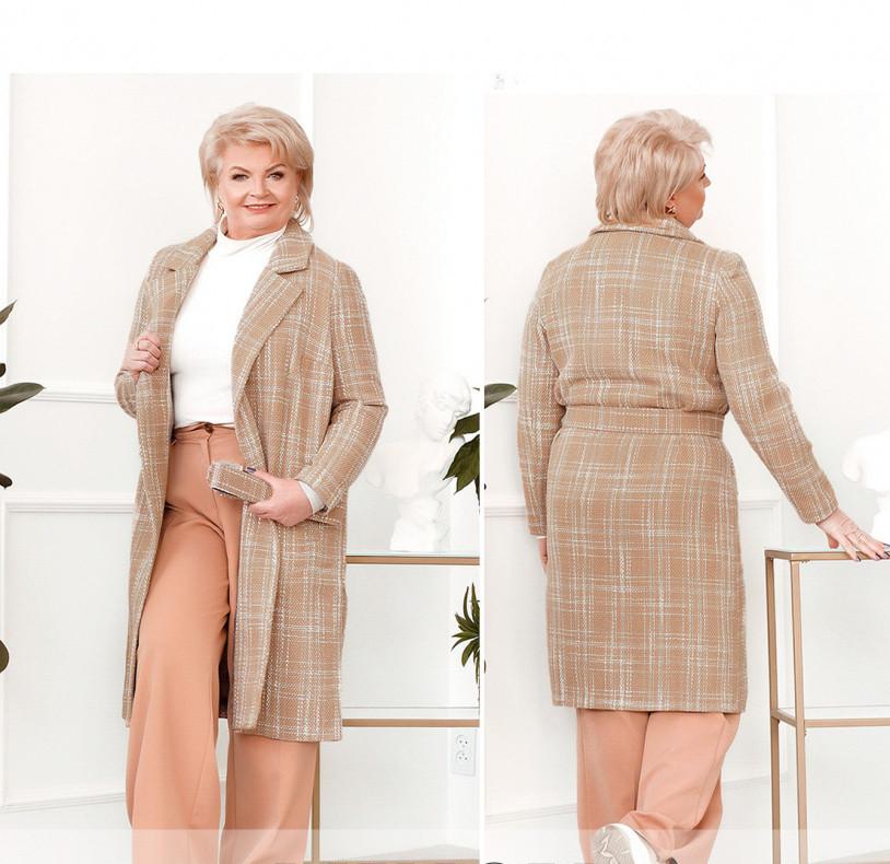 / Розмір 50-52,58-60 / Жіноче пальто великого розміру з поясом / 796-Бежевий