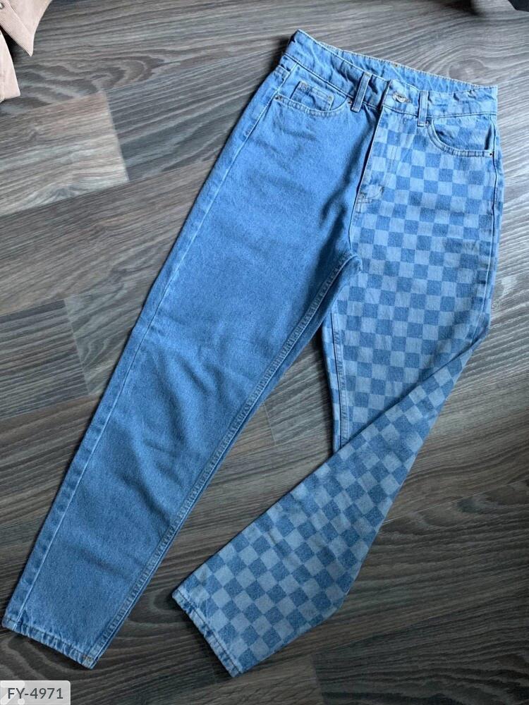 """Жіночі двухцветние джинси мом """"Шахова дошка"""", 30, 25, 26, 28, 32"""