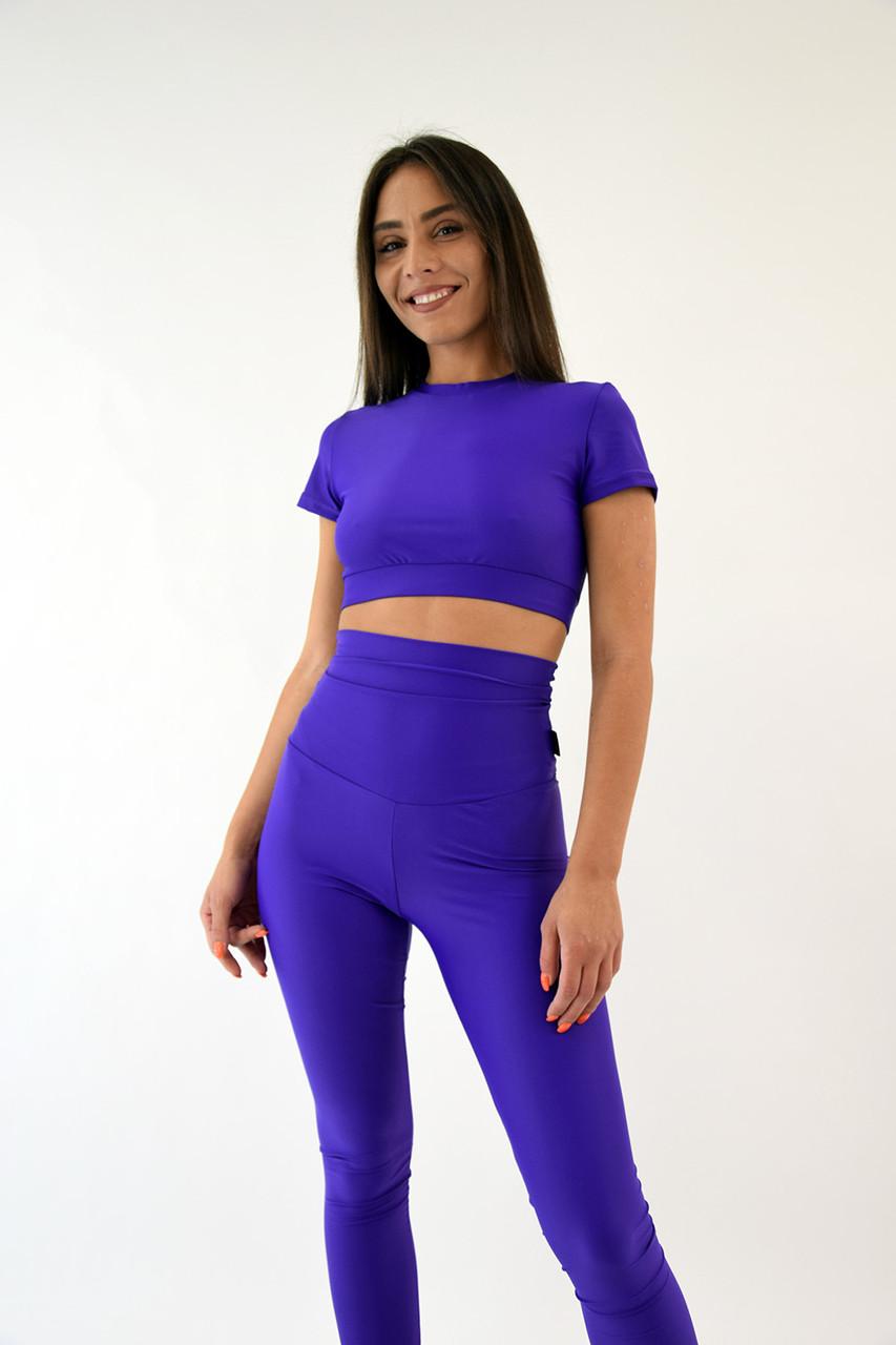 Футболка топ женская из итальянского бифлекса фиолетовая