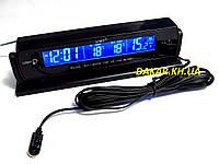 Автомобильные часы с выносным термометром и вольтметром VST 7013V синяя подсветка
