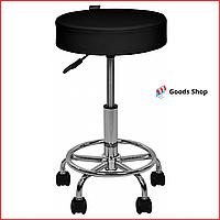 Кресло табурет на колесиках без спинки для кухни Круглый черный стул для барной стойки салона Bonro B-497
