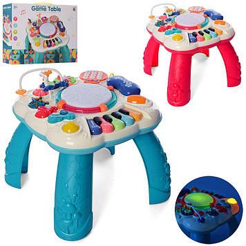 Развивающий музыкальный детский игровой центр с пианино Игровой столик для деток с трещетками и барабаном