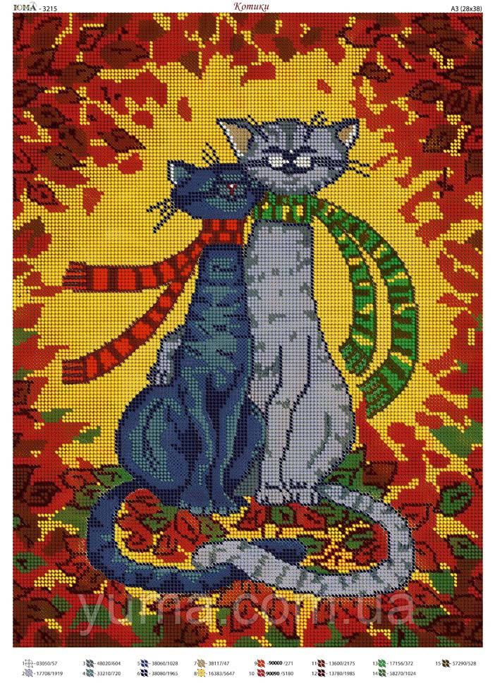 """Схема для вышивки бисером """"Котики"""""""