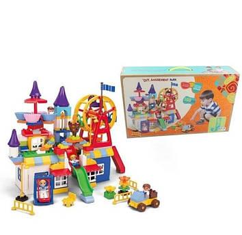Детский блочный конструктор парк развлечений с аттракционами и качелями Конструктор блочный для детей от 3 лет