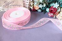 "Лента из органзы с рисунком 1.5 см ""Розовые розочки"" на розовом"