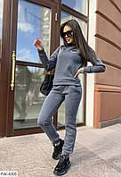 Трикотажный молодежный женский костюм на каждый день свитшот и штаны из трехнитки с нашивкой р-ры 42-44,46-48