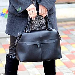 Стильна чорна зручна дорожня сумка Дафл через плече з короткими ручками