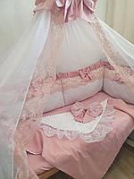 """Бортики в ліжечко """" біло пудровое мереживо """", фото 1"""