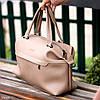 Стильная бежевая удобная дорожная сумка Дафл через плечо с короткими ручками, фото 5