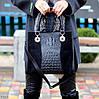 Модная черная фактурная квадратная замшевая женская сумка натуральная замша, фото 5