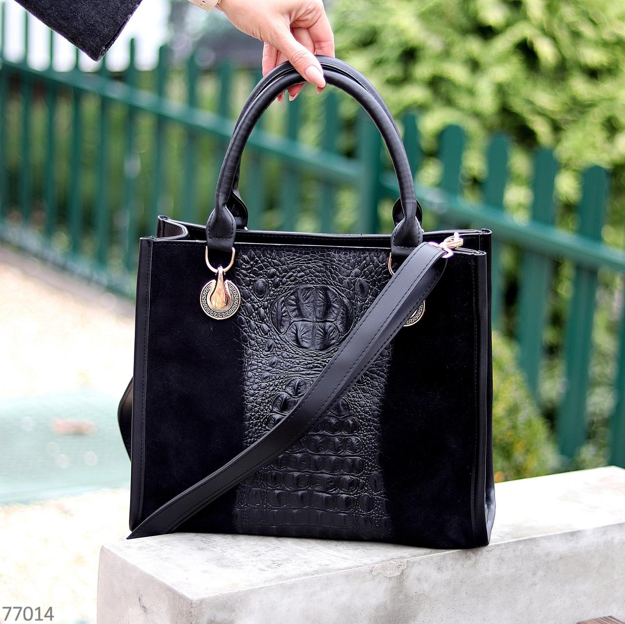 Модная черная фактурная квадратная замшевая женская сумка натуральная замша
