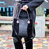 Модная черная фактурная квадратная замшевая женская сумка натуральная замша, фото 6