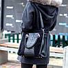 Модная черная фактурная квадратная замшевая женская сумка натуральная замша, фото 8