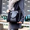 Модная черная фактурная квадратная замшевая женская сумка натуральная замша, фото 7
