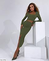 Жіночий стильний костюм з довгою спідницею нижче коліна і коротким облягаючим топом р-ри 42-44,44-46 арт 020